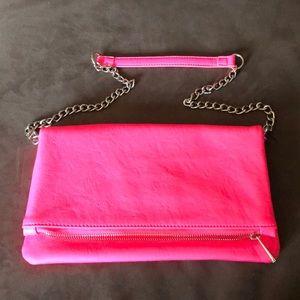 NWOT neon pink Express foldover bag
